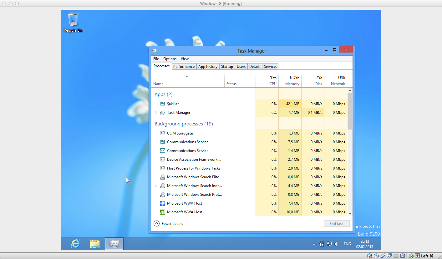 Task manager, Processes